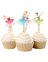 Joinor Set of 24 Pieces Cute Ballet Dancer Girls Fairy Peri Dessert Muffin Cupcake Toppers for Picnic Wedding Baby Shower Birthday Party Server