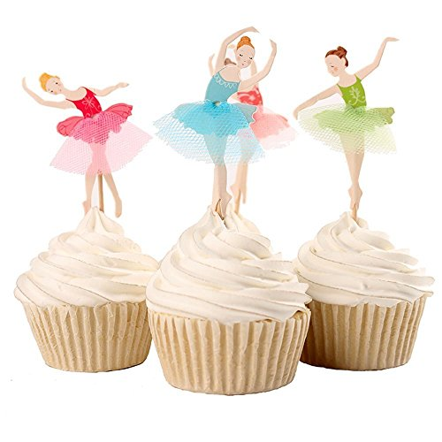 Joinor Set of 24 Pieces Cute Ballet Dancer Girls Fairy Peri Dessert Muffin Cupcake Toppers for Picnic Wedding Baby Shower Birthday Party Server -