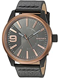 Men's 'Rasp' Quartz Stainless Steel and Leather Casual Watch, Color:Black (Model: DZ1841)