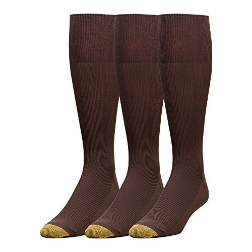 Gold Toe Men's 3-Pack Metropolitan Over-The-Calf Dress Socks, Brown, 10-13 (Shoe Size -