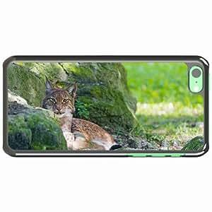 iPhone 5C Black Hardshell Case lynx stones moss predator Desin Images Protector Back Cover