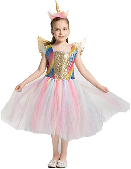 MX kingdom Disfraz de Rainbow Unicorn Kids Disfraz de Princesa ...