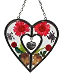 Tiffany Lamp & Gift Factory Faith Heart Suncatcher Silver Metal and Glass with Pressed Flower Heart and One Hanging Heart Shaped Charms (4.254.75-Faith)