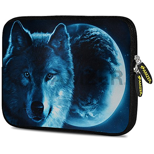 Amzer 7.0-7.75 Inches Designer Neoprene Sleeve Case for iPad/Tablet/e-Reader and Notebooks, Grey Woolf Moon (AMZ5261077)