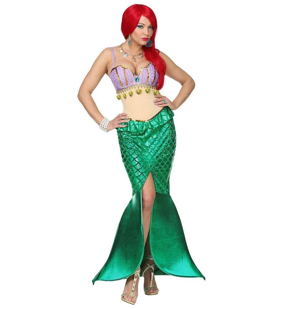 Shoperama Damen-Kostüm Meerjungfrau Kleid Mermaid Nixe Sirene sexy Muschel-BH Fisch-Schuppen Arielle Märchen, Größe:M