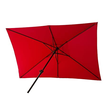 FLAME SHADE 6 feet 6 inch x 10 feet Rectangular Market Outdoor Patio Umbrella Crank Lift Red