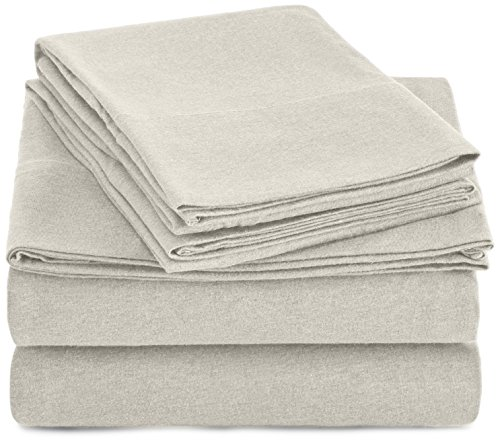 Amazonbasics Heather Cotton Jersey Bed Sheet Set Full Oatmeal