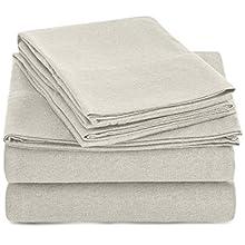 AmazonBasics Heather Jersey Sheet Set - King, Oatmeal