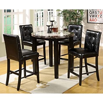 Atlas Black Finish 5 Piece Counter Height Dining Table Set