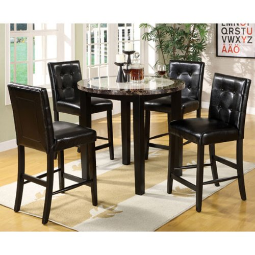 247SHOPATHOME Idf 3188PT 40 5PC Dining Room Sets Black