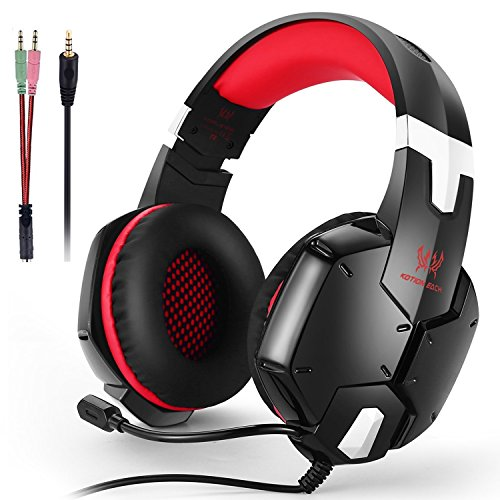 Diva Headset Microphone (KOTION EACH Gaming Headset for Computer, PS4 & New Xbox one - PC Surround Sound Adjustable Gamer Headphones with Mic - 3.5MM Jack - Noise Isolating Game)