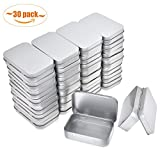 Aybloom Metal Rectangular Empty Hinged Tins - 30 Packs Silver Mini Portable Box Containers Small Storage Kit & Home Organizer