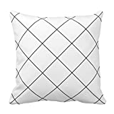 Black Lines on White Check Gingham Grid Pattern Pillow Case Cover Square Zippered 20X20 Inch Two Sides