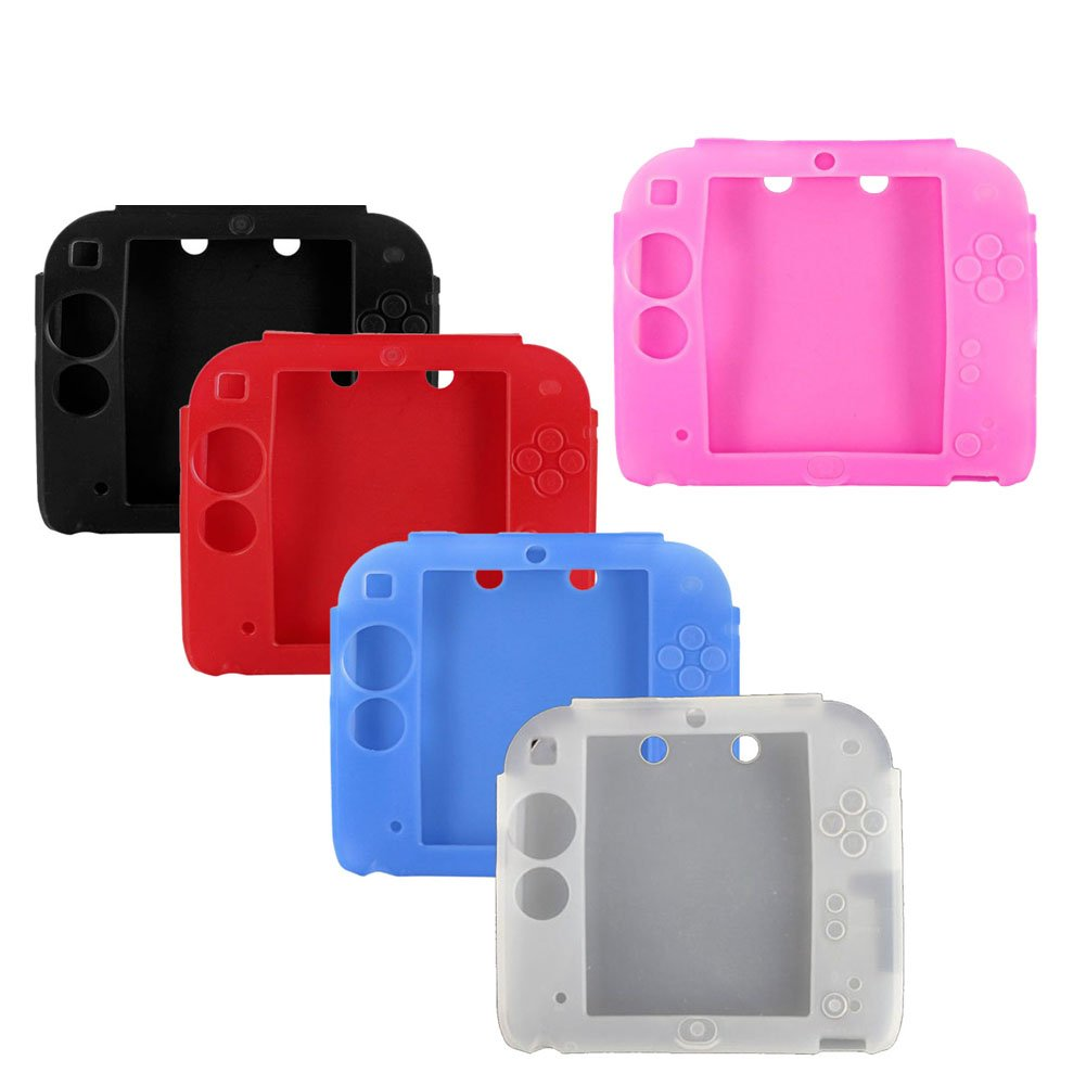 5Packs Protective Soft Silicone Rubber Gel Skin Case Cover for Nintendo 2DS (BL+RE+BU+WH+PI)