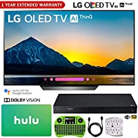 """LG OLED65B8PUA 65"""" Class B8 OLED 4K HDR AI Smart TV (2018) + LG UBK90 Streaming 4k Ultra-HD Blu-Ray Player w/Dolby Vision + Hulu $100 Gift Card + 1 Year Extended Warranty + More"""