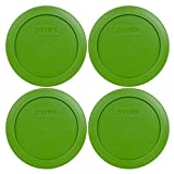 Pyrex 7200-PC Round 2 Cup Storage Lid for Glass Bowls (4, Lawn Green)