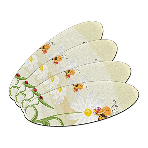 Bumble Bees and Ladybugs on Daisies - Flowers Oval Nail File Emery Board 4 (Compact Emery Boards)