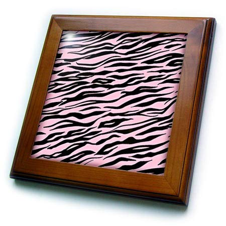- 3dRose Uta Naumann Faux Glitter Pattern - Image of Trendy Girly Shiny Metal Chic Pink and Black Tiger Fur - 8x8 Framed Tile (ft_315375_1)