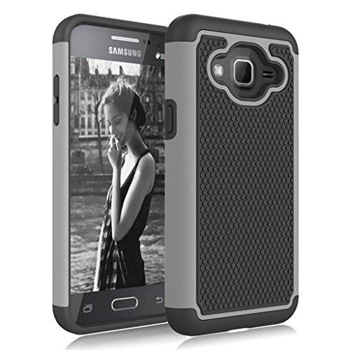 Galaxy Sky Case,Galaxy J3 Case,Galaxy Express Prime Case,Galaxy Amp Prime Case,J3V Case, Jeylly Shockproof Dual Layer Armor Defender Scratch Absorbing Hybrid Rubber Plastic Phone Case Cover - Grey