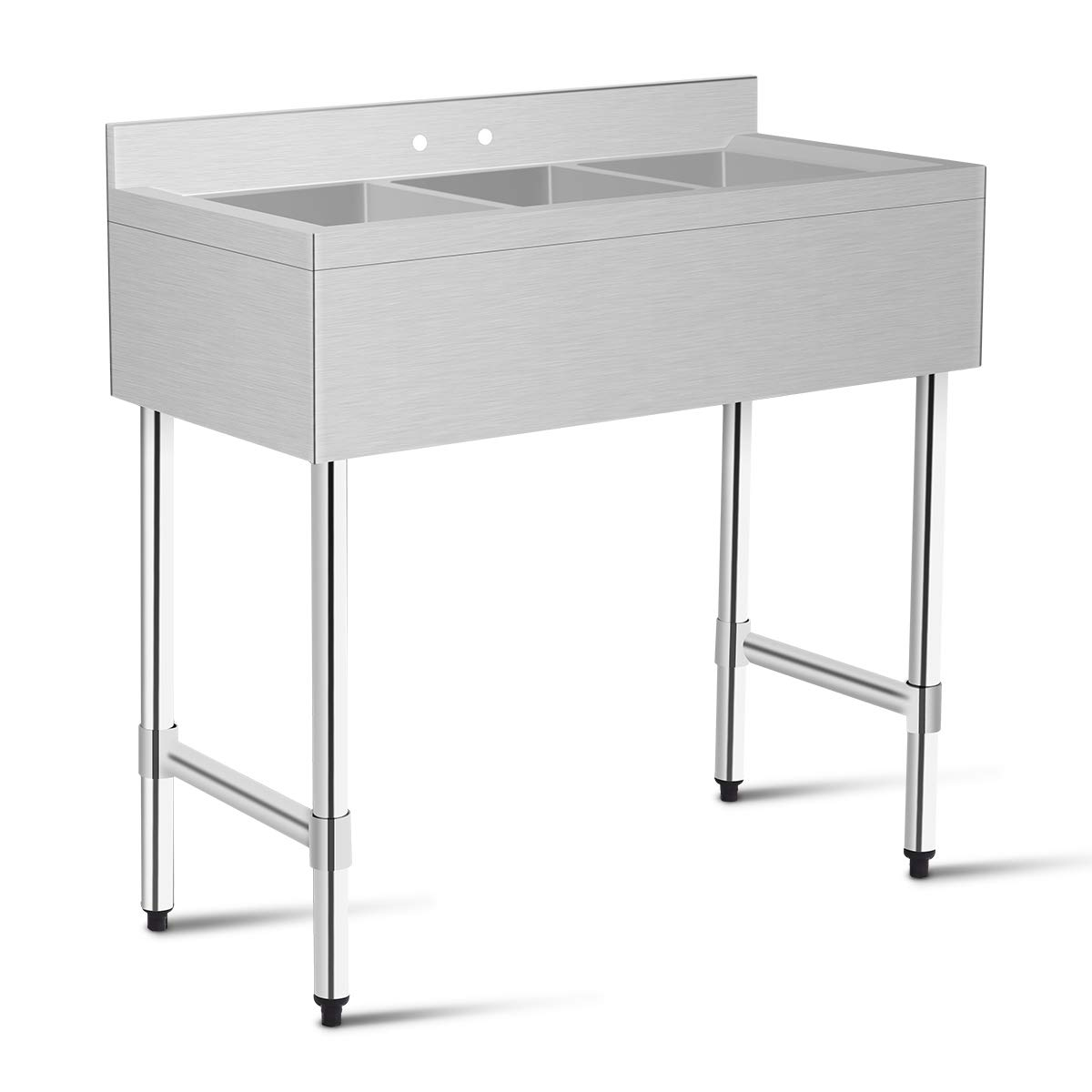 Giantex 3 Compartment Sink Kitchen Prep & Utility Sink Heavy Duty Stainless Steel Commercial