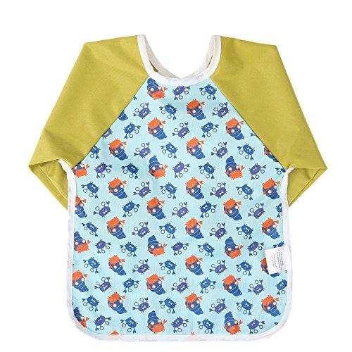 Momloves Cute Cartoon Unisex Infant Toddler Baby Waterproof Sleeved Bib, Baby Toddler Smock (6-24 Months) (green) ()