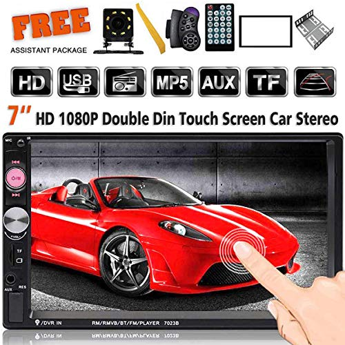 7 Inch Double Din Touch Screen Car Stereo Headunit MP5 Player Receiver TF FM Radio Car Audio Bluetooth Support Backup Rear View Camera Steering Wheel Remote Control Mirror Link