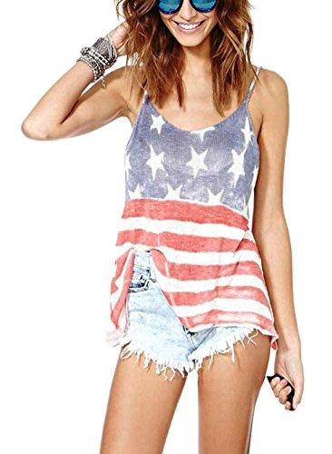 L04BABY Summer American UK Flag Print Women Tank Tops Backless T-Shirts