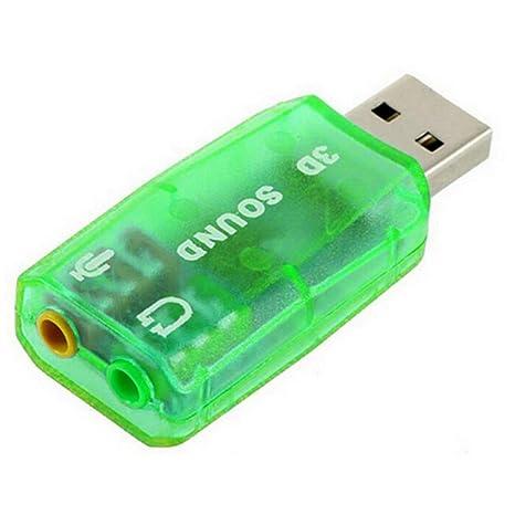 uu19ee Adaptador de Tarjeta de Sonido USB Externo Audio 5.1 Virtual 3D USB a micrófono de 3.5 mm Interfaz de Altavoz para PC