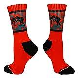Fighting Wrestlers Crew Socks (Red/Black, Medium)