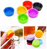 silicon beer caps - Set of 18 Multicolor Reusable Silicone Bottle Caps Sealer Cover Stopper for Wine, Beer and Soda Pop
