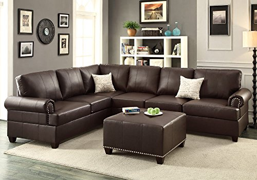 1PerfectChoice Reversible Loveseat Wedge Couch Sectional Sofa Trim Brown Bonded Leather