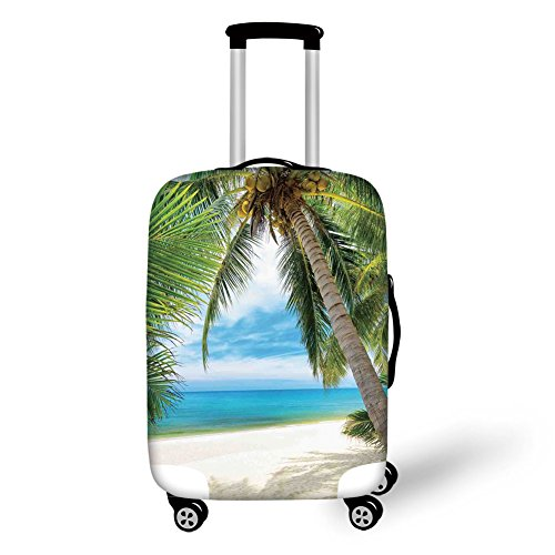 Travel Luggage Cover Suitcase Protector,Ocean Decor,Shadow Shade of a Coconut Palm Tree on White Sand,,for Travel