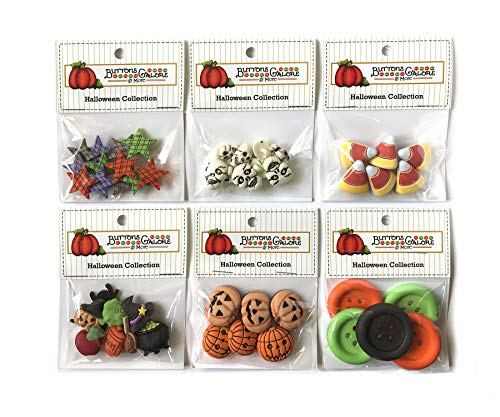 Buttons Galore 40+ Assorted Halloween Buttons for Sewing & Crafts - Set of 6 Button Packs - Candy Corn, Jack O Lanterns & More]()