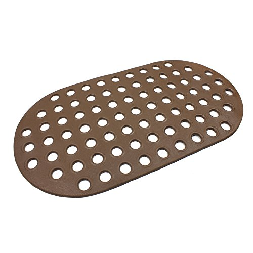 Big Hole Anti-slip Bath And Shower Mat Rubber Floor Mat Anti-Fatigue Drainage Mat Natural Rubber, Non-Toxic, Eco-Friendly, Mildew and Stain Resistant Oval Brown 27 x15 (Anti Slip Floor)