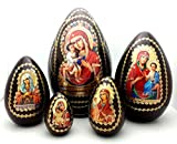 Holy Mother RELIGIOUS Icon EGG 5 piece nesting doll set made in Russia WOOD / Easter Gifts