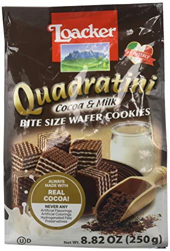 (Loacker Quadratini- Cocoa & Milk Wafer Cookie, 8.82 oz per bag)