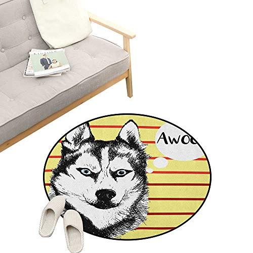 (Alaskan Malamute Round Rugs ,Portrait of Siberian Husky Hand Drawn Domestic Pet Dog Striped Backdrop, Design Home Decoration 31