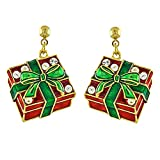 ACCESSORIESFOREVER Christmas Jewelry Holiday Crystal Rhinestone Gift Box Earrings E1143 Red