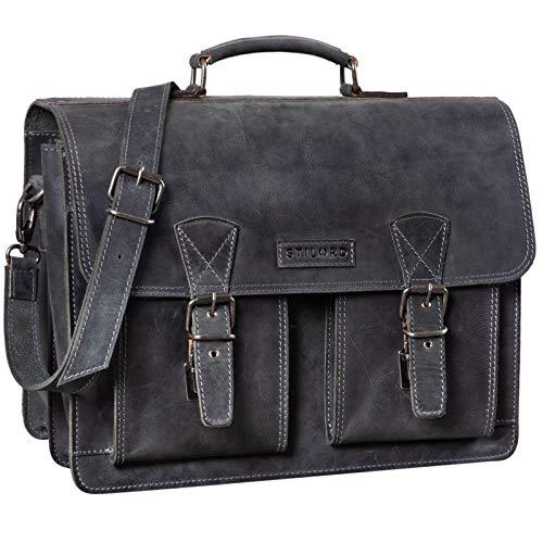 STILORD 'Jeffrey' Lehrertasche Aktentasche Leder Große Vintage Ledertasche zum Umhängen 15.6 Zoll Laptop Tasche für Schule Uni Business Trolley Aufsteckbar, Farbe:anthrazit