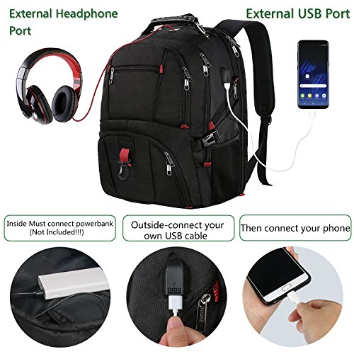 Outdoor Backpack, Extra Large Travel Backpack for Men and Women with USB Charging Port, TSA Friendly Business Traveling Computer Bag,Water Resistant College School Bookbag Fits 17 Inch Laptop&Notebook by MATEIN (Image #2)