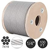 New - 1 Pcs Compatible with T304 Stainless Steel Cable Wire Rope,1/4'',7x19,100ft Reel Lifting Machinery.