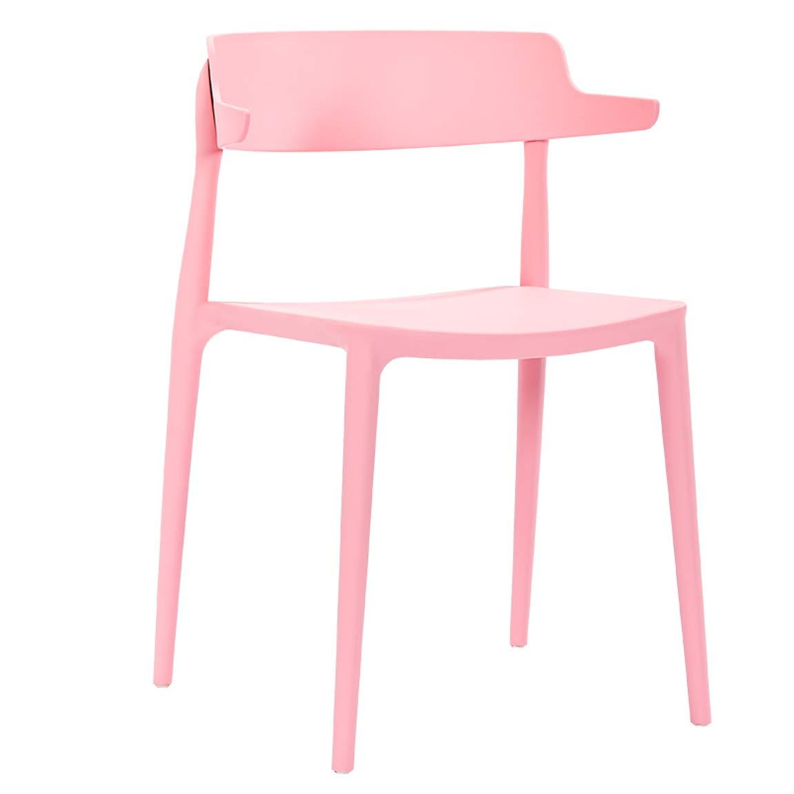 HLQW ヨーロッパの現代シンプルなレジャー背もたれ椅子、家庭用プラスチック製の椅子、創造的なファッションスツール (Color : Pink) B07RSMVZ2P Pink