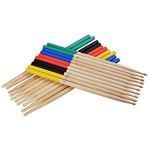 Muse 5 Pairs/Set 7A Maple Drum Sticks For Kids / Children, Fit For All Drum Sets Drum Accessories Multi Color