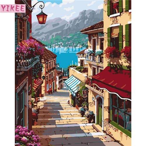 KYKDY dekorative bilder meer landschaftsfarben landschaftsfarben landschaftsfarben nach zahlen, für wohnzimmer, bilder nach zahlen, 40x50cm kein rahmen, pinsel B07NXTLFBT | Zuverlässiger Ruf  902ab1