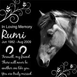 Personalized Pet Horse Memorial 12''x12'' Engraved Black Granite Grave Marker Head Stone Plaque RUM1