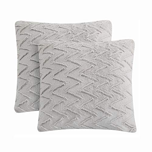LIFEREVO 2 Pack Chevron Brushed Fleece Faux Fur Decorative Throw Pillow Case Soft Cushion Cover (Light Gray, 18 x 18 Inch) (Grey Pillows Paisley)