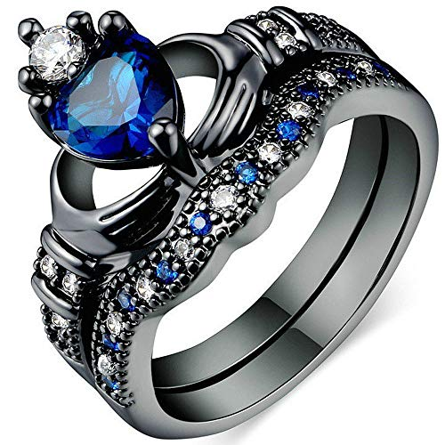 - AONEW Wedding Band Irish Claddagh Vintage Crown Ring Set Simulated Sapphire CZ Heart Size 8