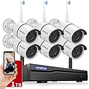 【 8CH Expandable.Audio】 Security Camera System Wireless Outdoor, 8 Channel 1080P NVR with 1TB Hard Drive, 6Pcs 2.0MP…