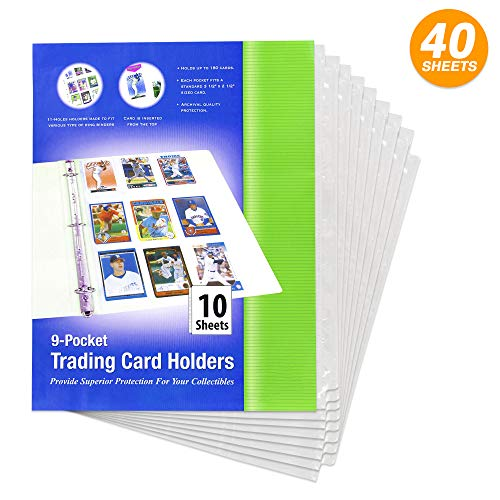 - Top Loading 9 Pockets Sports Card Holder fits 3.5