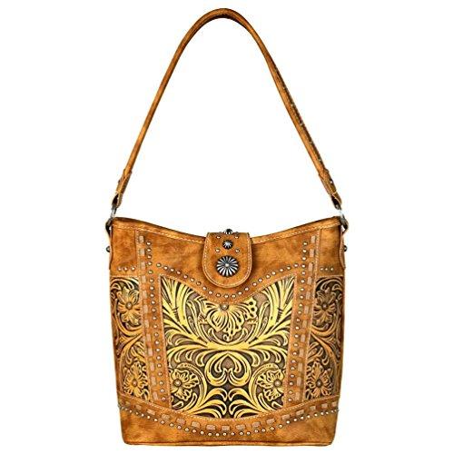 Handbag Leather Tooled Collection Hobo Brown Ranch Trinity wSqHv4